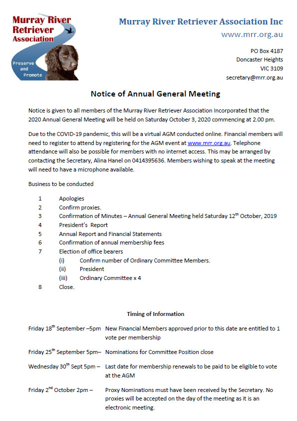 AGM Notice of Meeting 2020